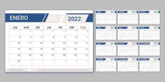 Calendario spagnolo 2022. la settimana inizia lunedì. modello di calendario con 12 mesi. griglia di pianificazione della tabella