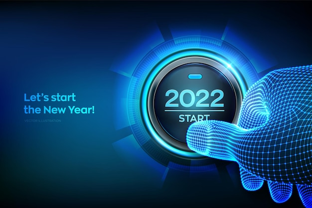Inizio 2022. dito in procinto di premere un pulsante con il testo 2022 start. buon anno. il nuovo anno duemilaventuno sta arrivando concetto. illustrazione vettoriale.