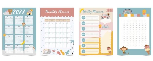 La settimana del calendario da tavolo 2022 inizia di domenica con animali e arcobaleno che utilizzano per il formato a4 a5 verticale e stampabile digitale