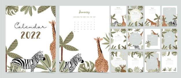 La settimana del calendario da tavolo 2022 inizia di domenica con safari che utilizza per il formato a4 a5 verticale e stampabile digitale