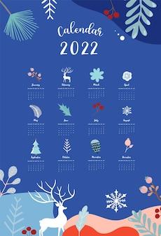 La settimana del calendario da tavolo 2022 inizia domenica con l'inverno, il paesaggio che utilizza per il formato a4 a5 verticale e stampabile