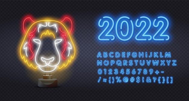 2022 insegna al neon faccia di tigre. animale selvatico, zoo, design della natura. icona della luce al neon della tigre del bengala. panthera tigri. animale nazionale indiano. simbolo di potere. illustrazione vettoriale in stile neon.