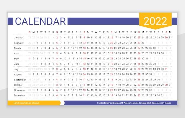 Calendario anno 2022. modello di pianificatore lineare. calendario orizzontale annuale la settimana inizia domenica
