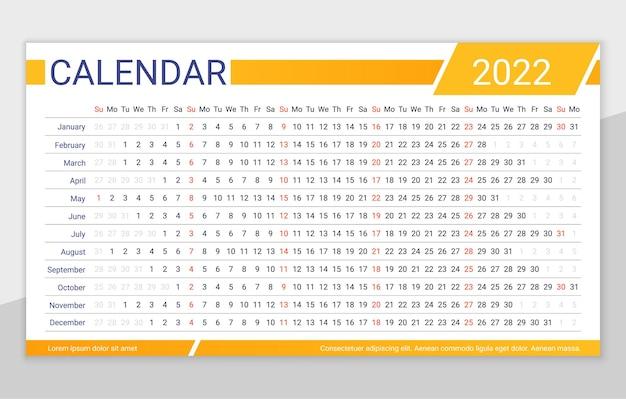 Calendario orizzontale annuale del modello di pianificatore lineare del calendario 2022 anni