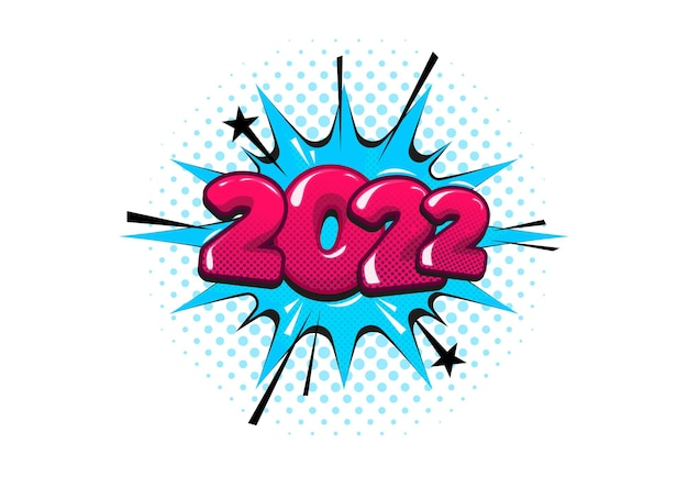 2022bolla di discorso di testo comico di natale. bandiera dell'illustrazione di vettore di semitono. stile pop art