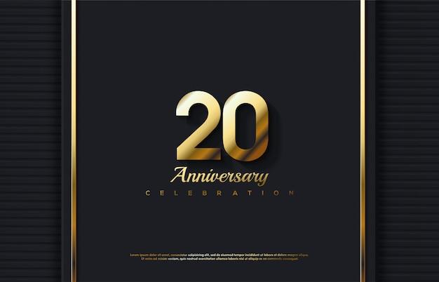 Celebrazione del 20 ° anniversario con numeri d'oro 3d.