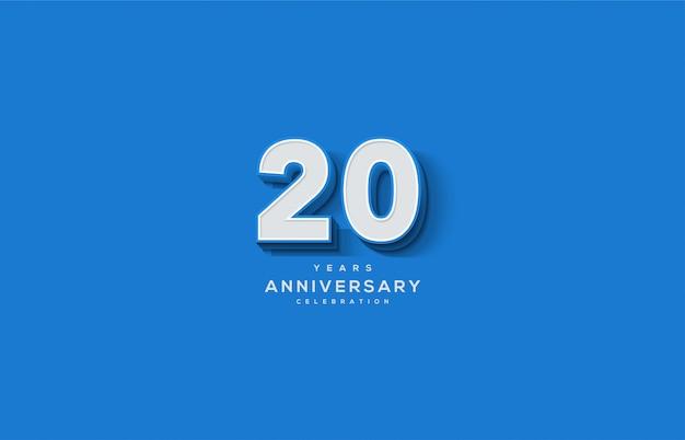 Celebrazione del 20 ° anniversario con numeri bianchi 3d in rilievo su sfondo blu.