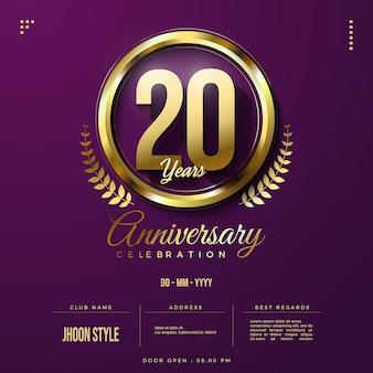 Invito per il 20° anniversario con l'illustrazione della figura di scintillio dell'oro
