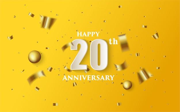 20 ° anniversario con illustrazioni di numeri bianchi e fogli d'oro su sfondo giallo.
