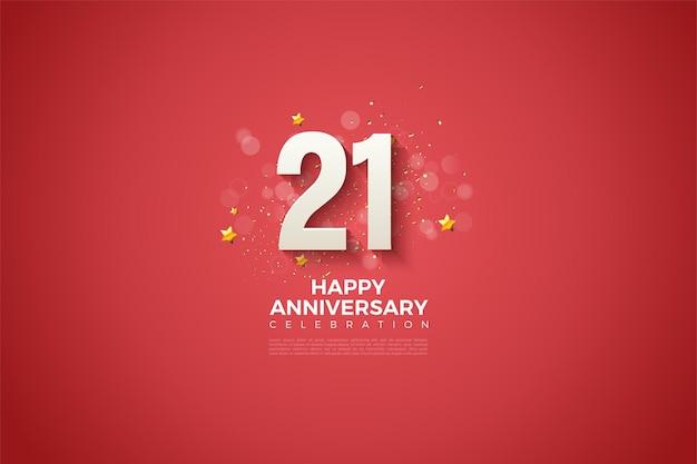 Sfondo del 21 ° anniversario con bellissime illustrazioni di numeri.