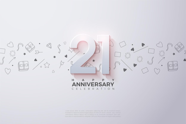 Sfondo del 21 ° anniversario con un numero sbiadito in alto.