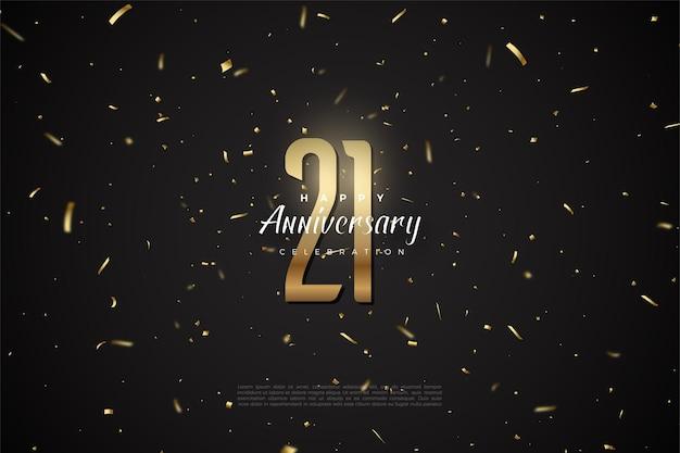 Sfondo del ventunesimo anniversario con punti dorati e illustrazione di numeri.