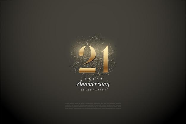Sfondo del ventunesimo anniversario con schizzi dorati e illustrazione di numeri.