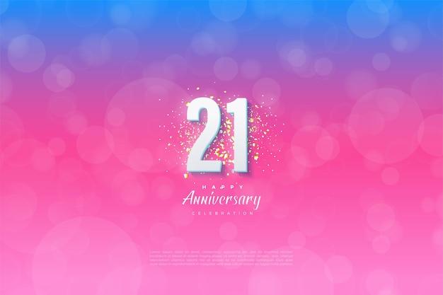 Sfondo del 21 ° anniversario con numeri e sfondo graduati.
