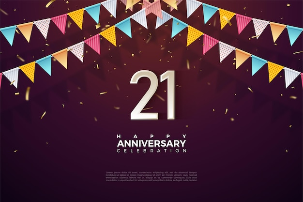 Sfondo del 21 ° anniversario con numeri sotto la bandiera 3d.