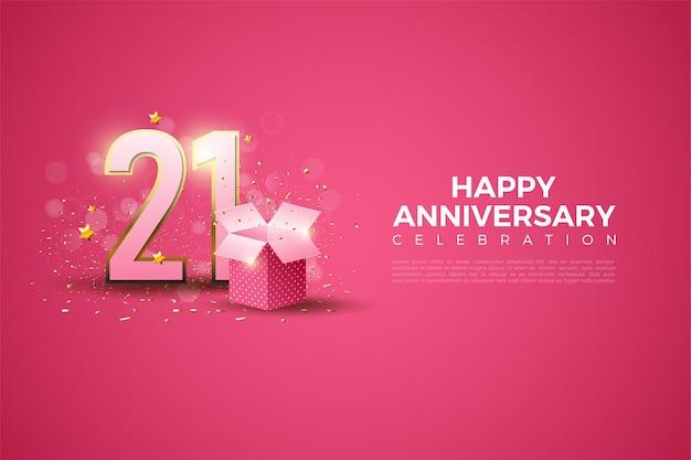 Sfondo del ventunesimo anniversario con numeri e illustrazione di confezione regalo.