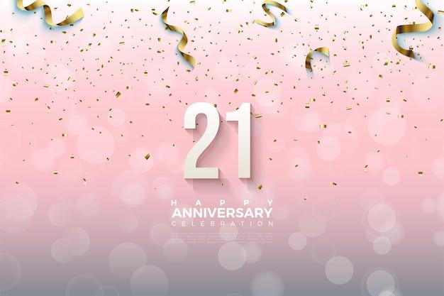 Sfondo del 21 ° anniversario con numeri e nastro dorato che cade.
