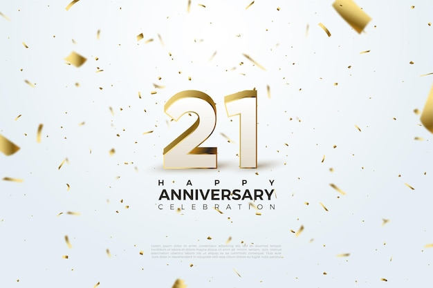 Sfondo del 21 ° anniversario con numeri sparsi e illustrazioni in lamina d'oro.