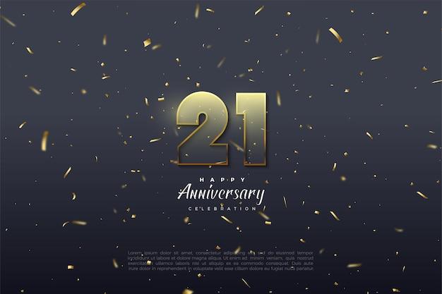 Sfondo del 21 ° anniversario con illustrazione di numeri trasparenti con bordo marrone dorato.