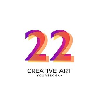 22 numeri logo design sfumato colorato