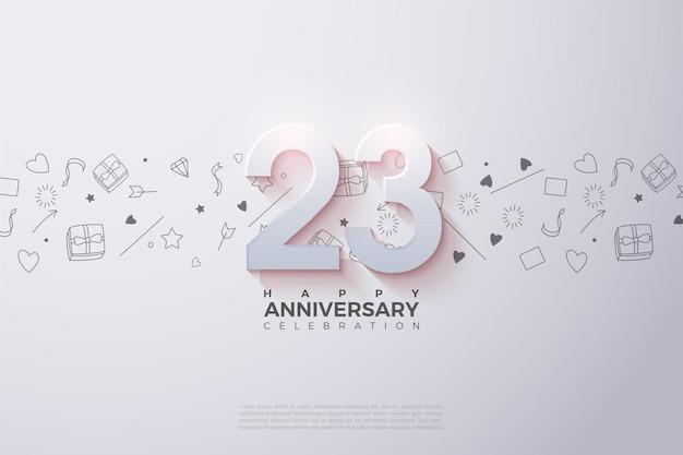 23 ° anniversario con un numero 3d effetto dissolvenza