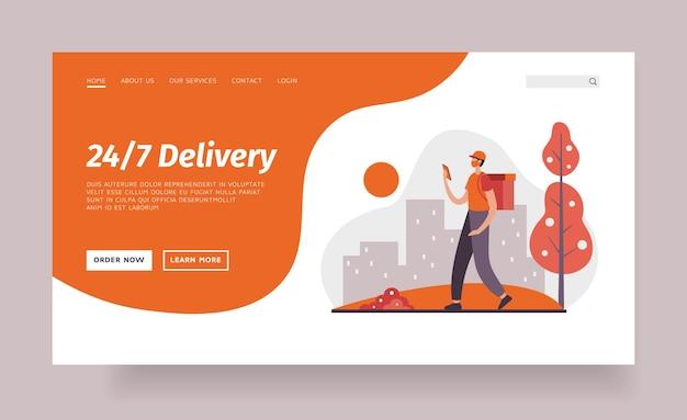 24 7 modello di pagina di destinazione di consegna