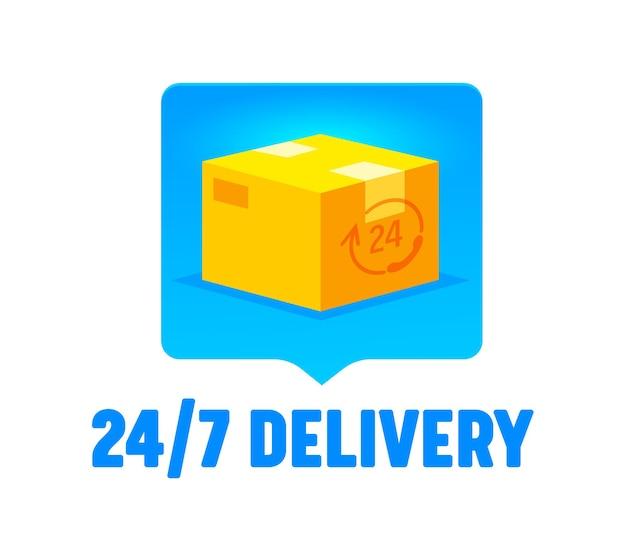 Logo di consegna 24 ore su 24, 7 giorni su 7, con scatola di cartone chiusa isolata su sfondo bianco