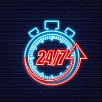 24-7 concetto di servizio. 24-7 aperto. icona al neon. icona del servizio di supporto. illustrazione di riserva di vettore. Vettore Premium
