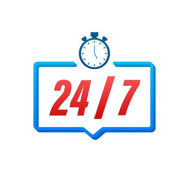 24-7 concetto di servizio. 24-7 aperto. icona del servizio di supporto. illustrazione di riserva di vettore.