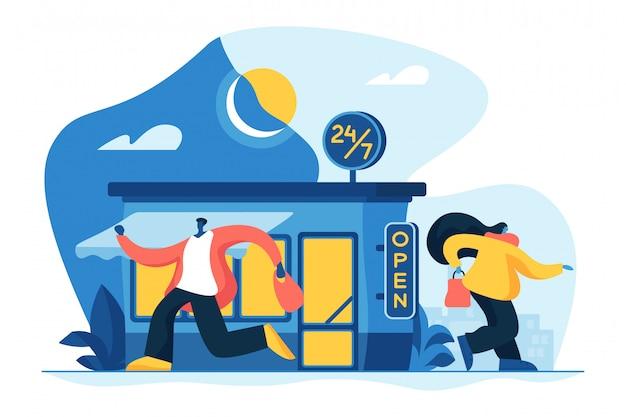 24 7 illustrazione di concetto di servizio.