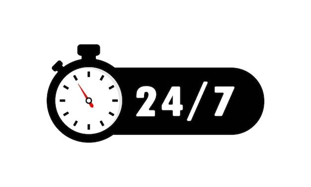 Icona del servizio 24 ore su 24, 7 giorni su 7. segno di supporto. vettore env 10. isolato su priorità bassa bianca.