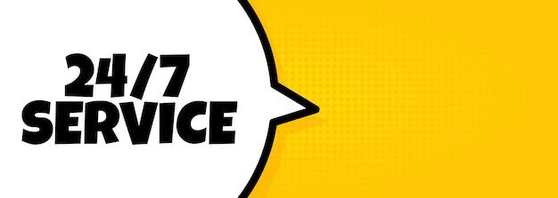 24 7 servizio. banner a fumetto con testo di servizio 24 ore su 24. altoparlante. per affari, marketing e pubblicità. vettore su sfondo isolato. env 10.
