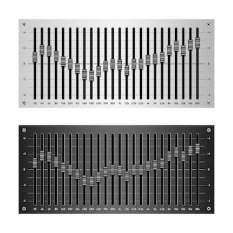 Equalizzatore audio a 24 bande isolato su sfondo bianco, illustrazione vettoriale