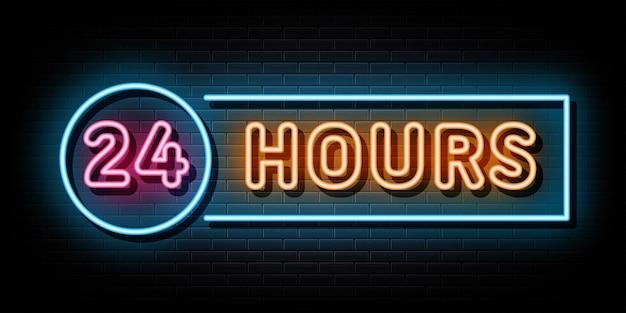 Simbolo dell'insegna al neon 24 ore