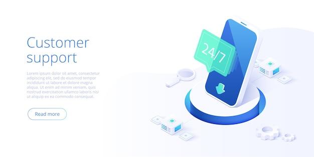 247 concetto di servizio o call center in illustrazione isometrica