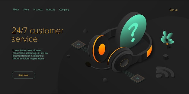 247 concetto di servizio o call center in illustrazione vettoriale isometrica 24 7 round