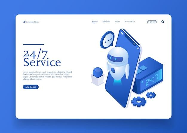 247 servizio intorno al concetto isometrico di assistenza clienti non-stop con robot ai