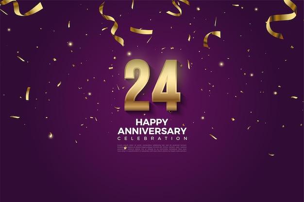 24 ° anniversario con illustrazione di goccia del nastro d'oro