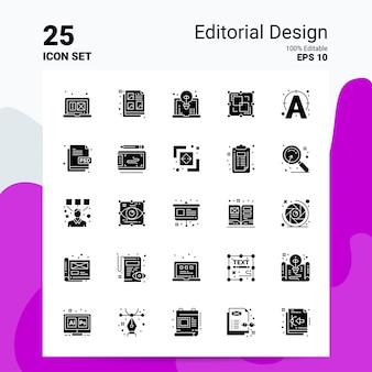 25 set di icone editoriali business logo concept ideas icona del glifo solido