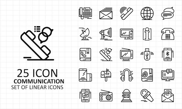25 foglio di icone di comunicazione lineare