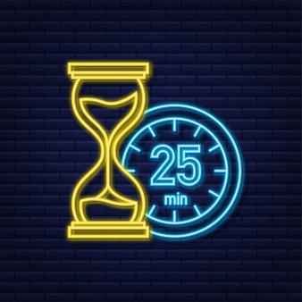 L'icona al neon di vettore del cronometro da 25 minuti icona del cronometro in stile piatto