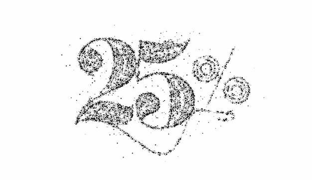 25% di sconto banner di sconto sulla vendita di particelle. prezzo dell'offerta di sconto. illustrazione di vettore.