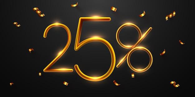 Sconto del 25% sulla composizione creativa 3d mega vendita o simbolo bonus del cinquanta percento