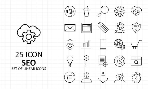 25 icone perfette del pixel del foglio dell'icona di seo