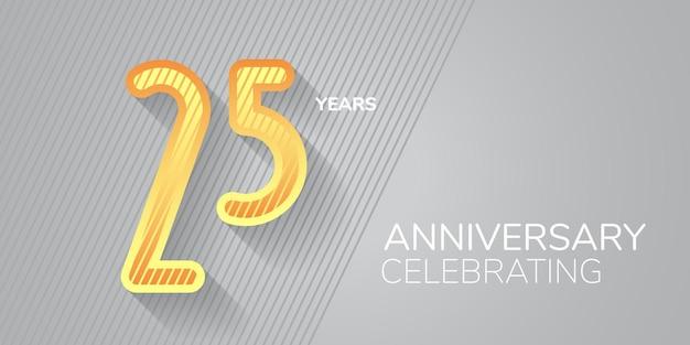 Icona dell'anniversario di 25 anni, logo. numero neon e bodycopy per il 25° anniversario, invito