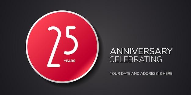 Logo dell'anniversario di 25 anni, icona. elemento di design del modello con numero per il 25° anniversario o invito