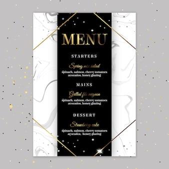 Modello di menu anniversario di 25 anni