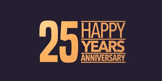 25 anni anniversario vettore icona simbolo logo sfondo grafico o carta per il 25° anniversario