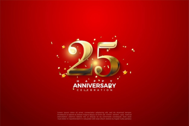 Sfondo 25 ° anniversario con illustrazione di numeri d'oro incandescente.