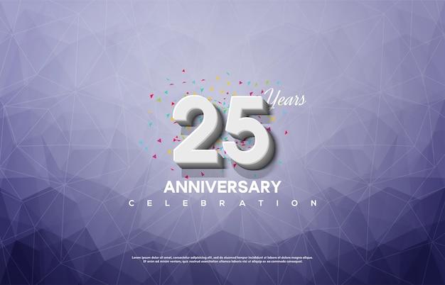 Celebrazione del 25 ° anniversario con numeri bianchi su sfondo di cristallo.